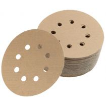 23-632-320, Mirka Gold 8 in. 8 Hole Grip Vacuum Disc 320G, Qty. 50