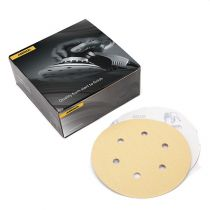 23-624-080, Mirka Gold 6 in. 6 Hole Grip Vacuum Disc 80G, Qty. 50