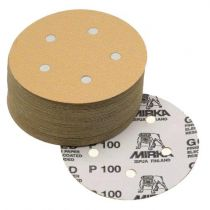 23-614-400, Mirka Gold 5 in. 5 Hole Grip Vacuum Disc 400G, Qty. 50