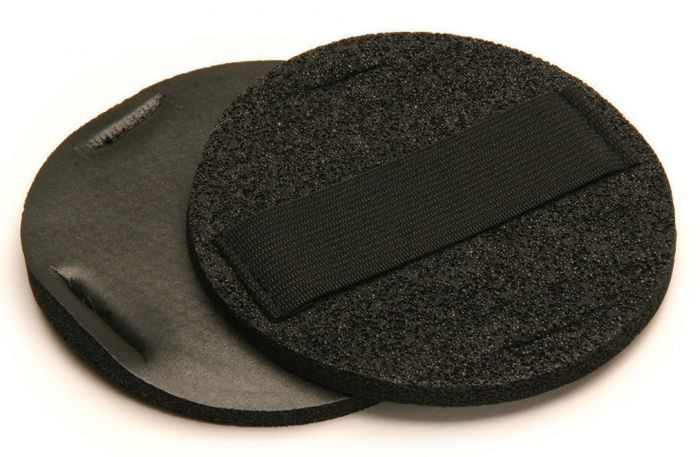 105HP, Mirka Vinyl Faced Hand Pad With Strap, 5 dia. 1/4 in.thick, Qty 2